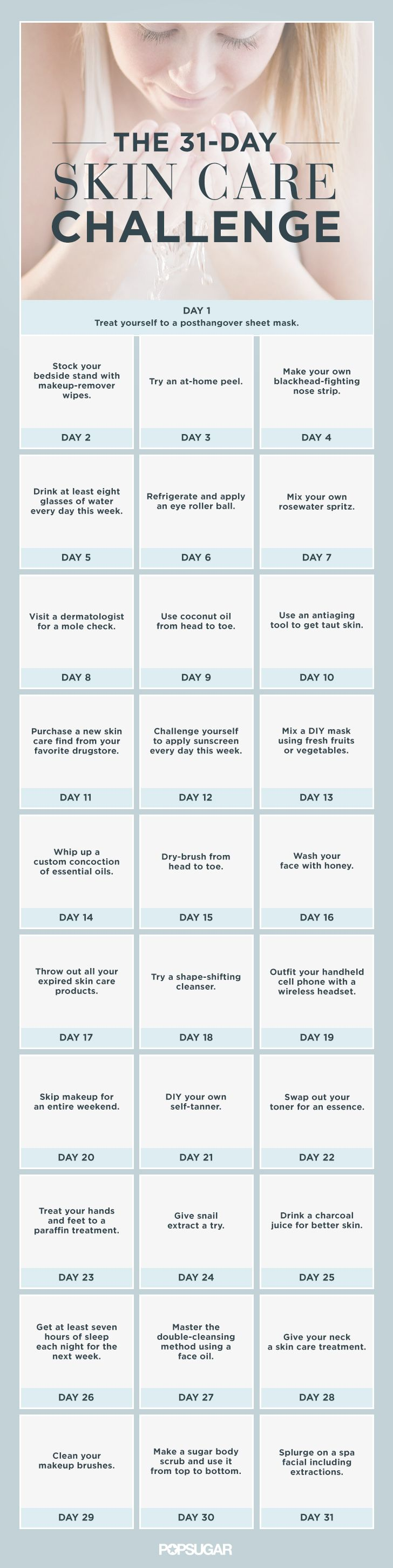The Ultimate 31 Day Skin Care Challenge Skin Care Good Skin Skin Tips
