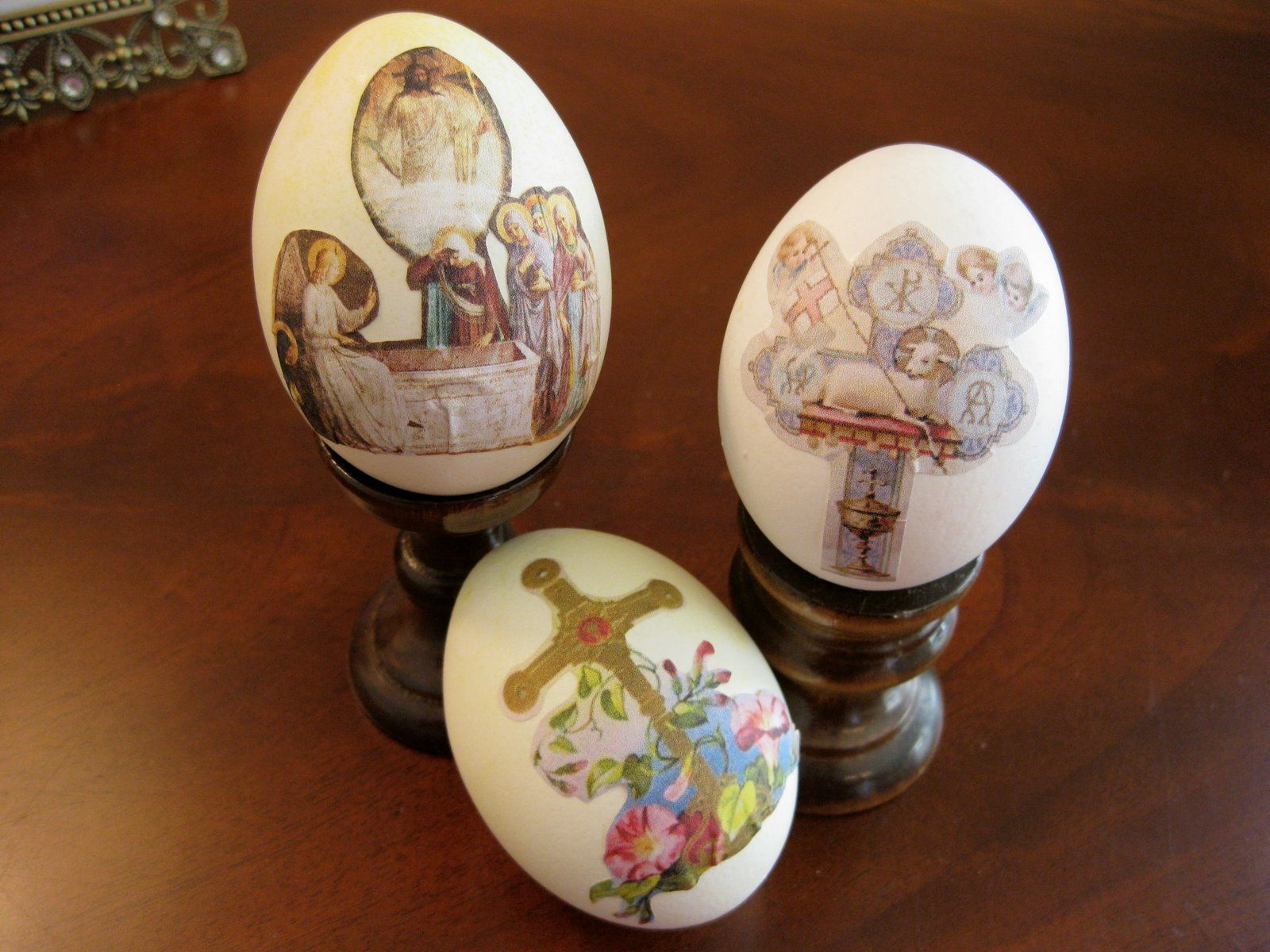 Decoupage Christian Symbols On Your Eggs For Easter Use Blown Out