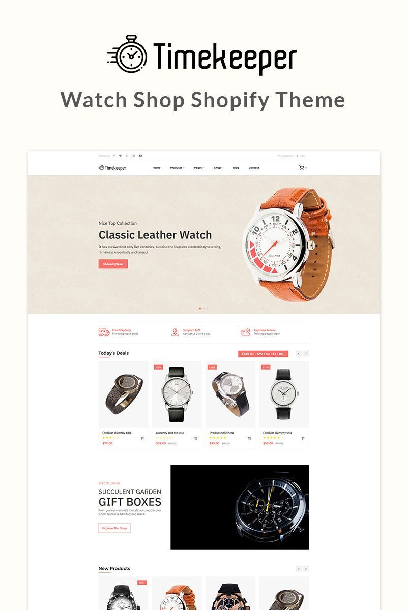 Timekeeper Watch Shop Shopify Theme 81750 Ecommerce Template