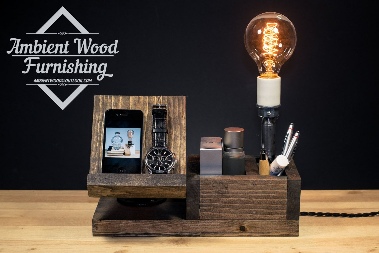 Wood Utility Storage Box Lamp With Electronic By