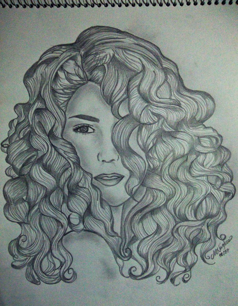 How To Draw Waves Hair : waves, Waves, Curly, Drawing,, Hair,, Sketch