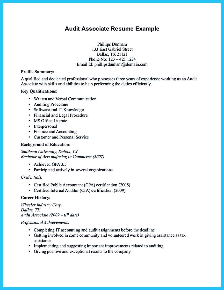 Audit Associate Resume Endearing Cool Making A Concise Credential Audit Resume  Resume Template .