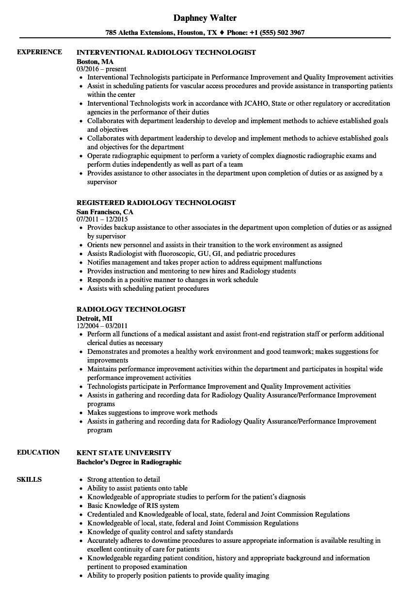 X Ray Technician Resume Format Manager resume, Job