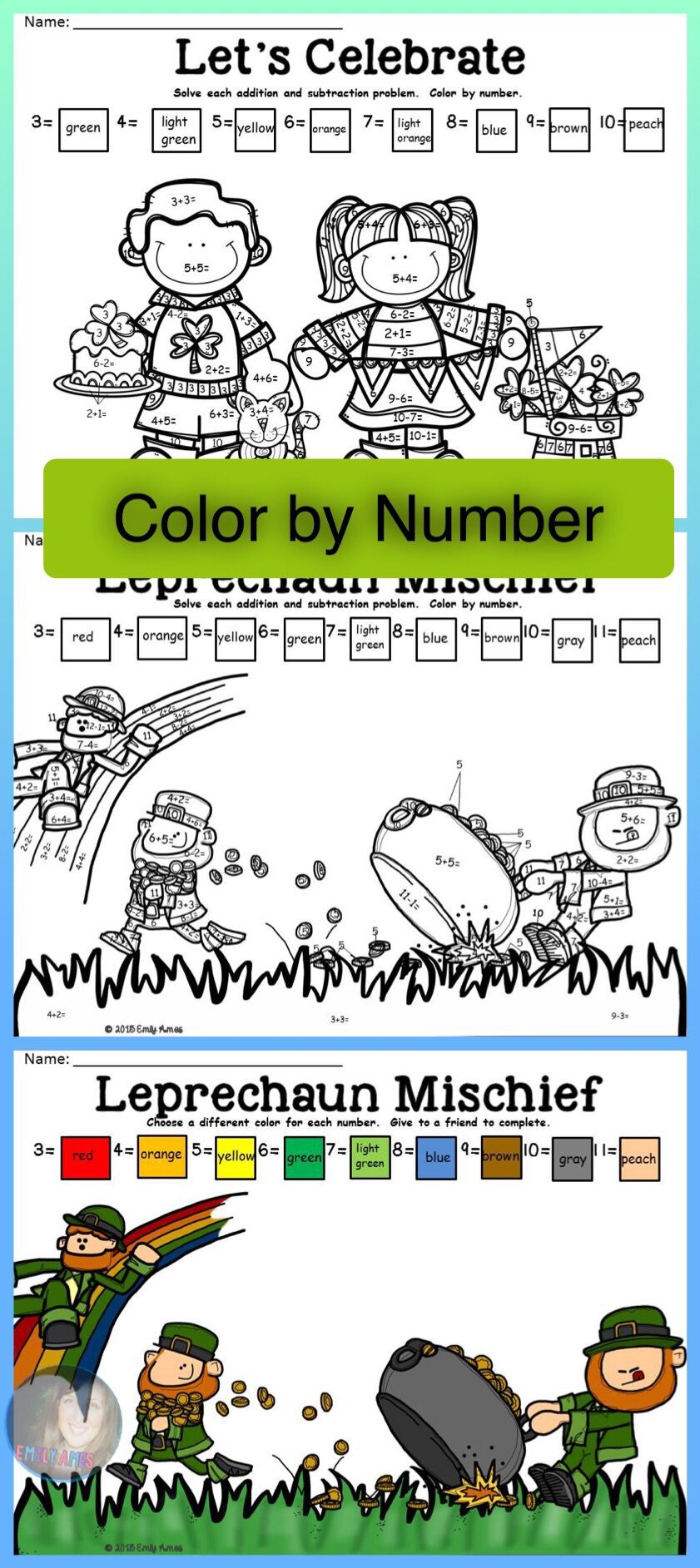 St. Patrick\'s Day Color by Number Differentiated (Numbers 1-11; 11 ...