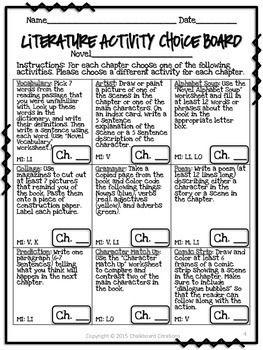 Literature Activity Choice Board 3rd 5th Grades Teaching Gr 4
