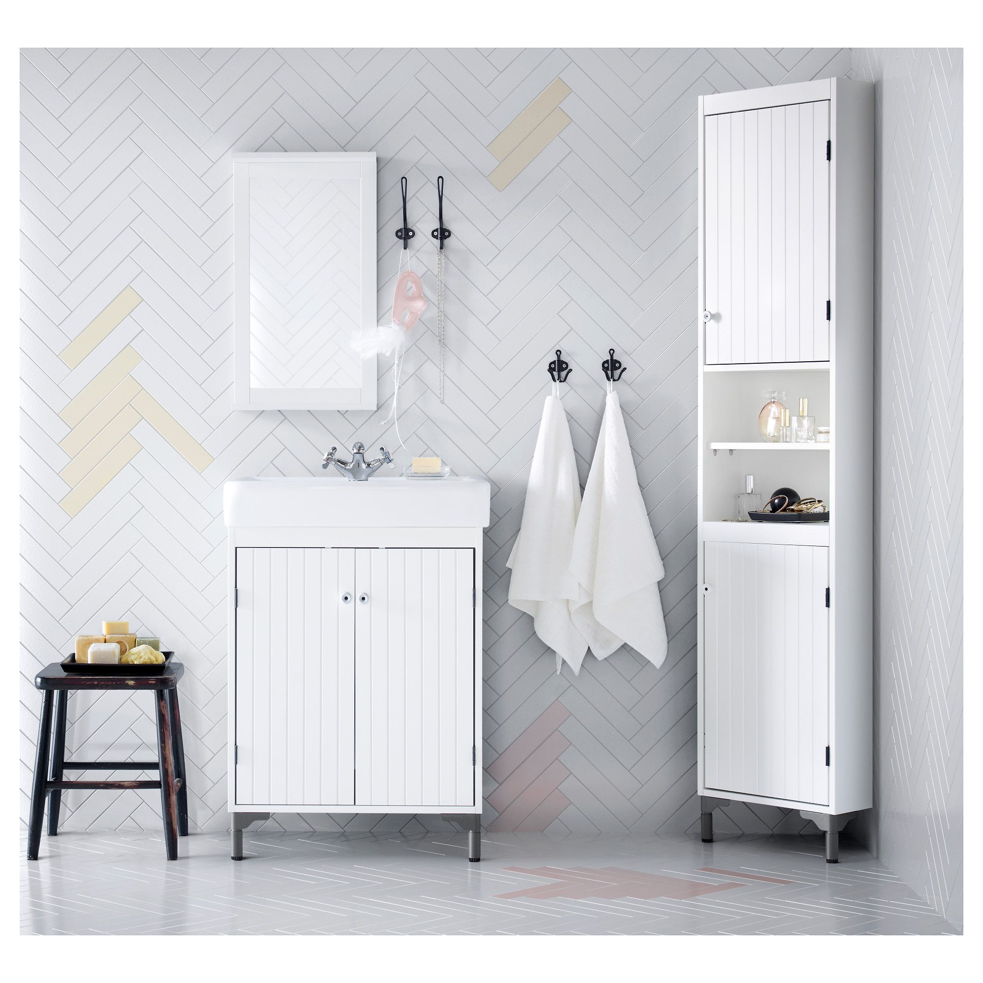 Ikea Silveran Hamnviken White Sink Cabinet With 2 Doors Ikea