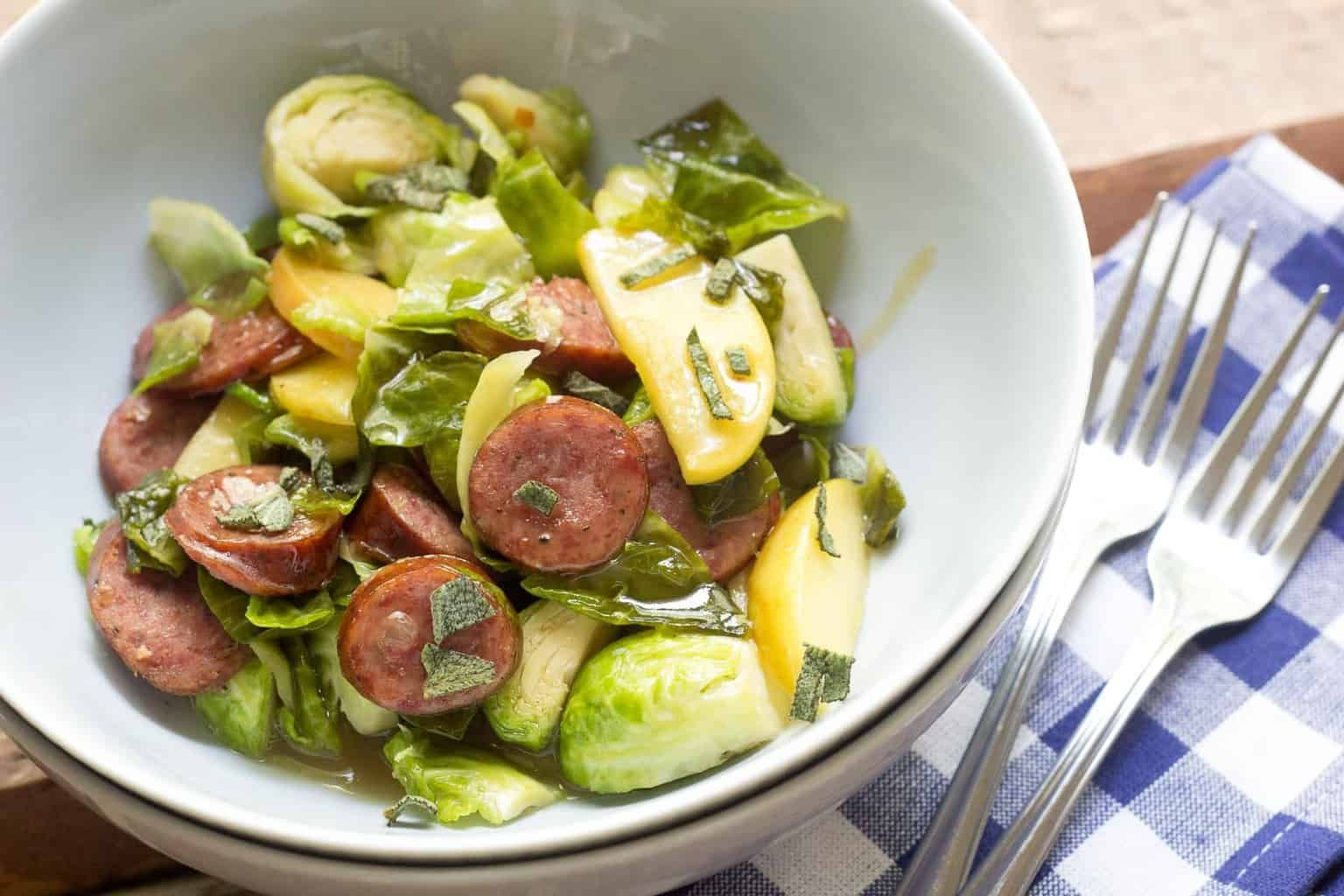 BeerGlazed Sausage with Brussels Sprouts and Apples is a