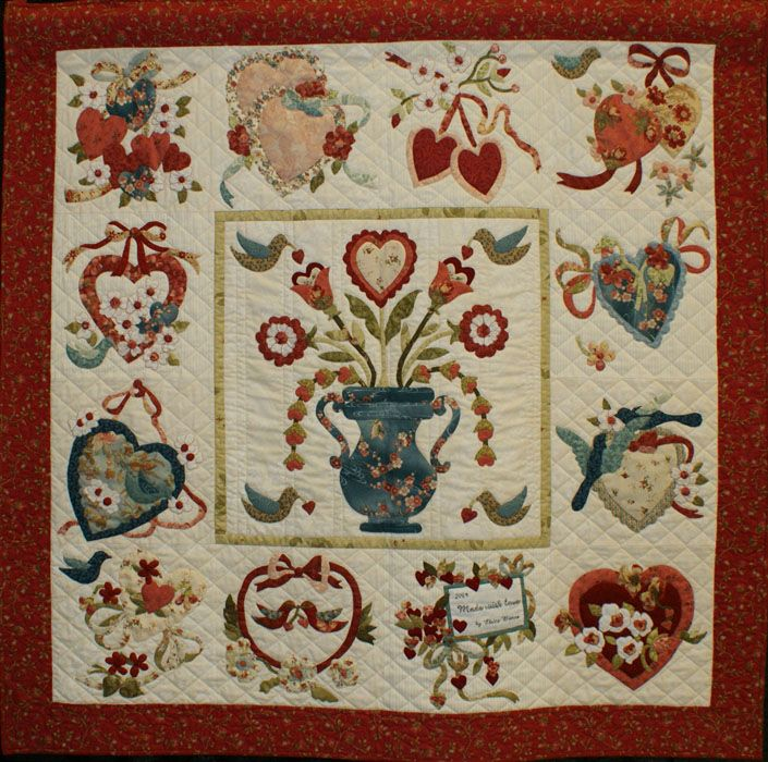 Vintage Valentine Love The Addition Of Blue To This Quilt