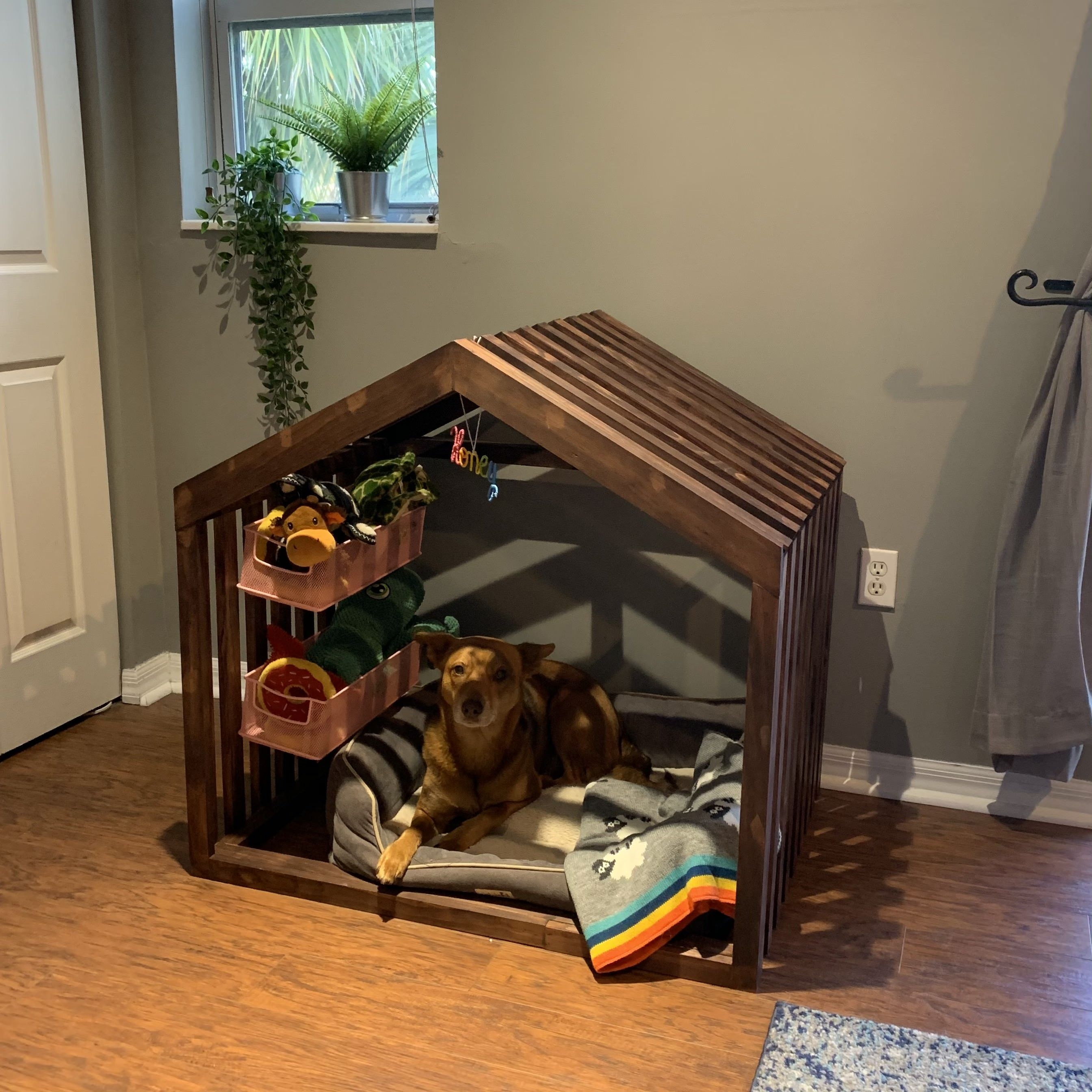 Indoor Rustic Dog House With Dog Toy Storage Dog Toy Storage Dog Spaces Dog Toys [ 2688 x 2688 Pixel ]