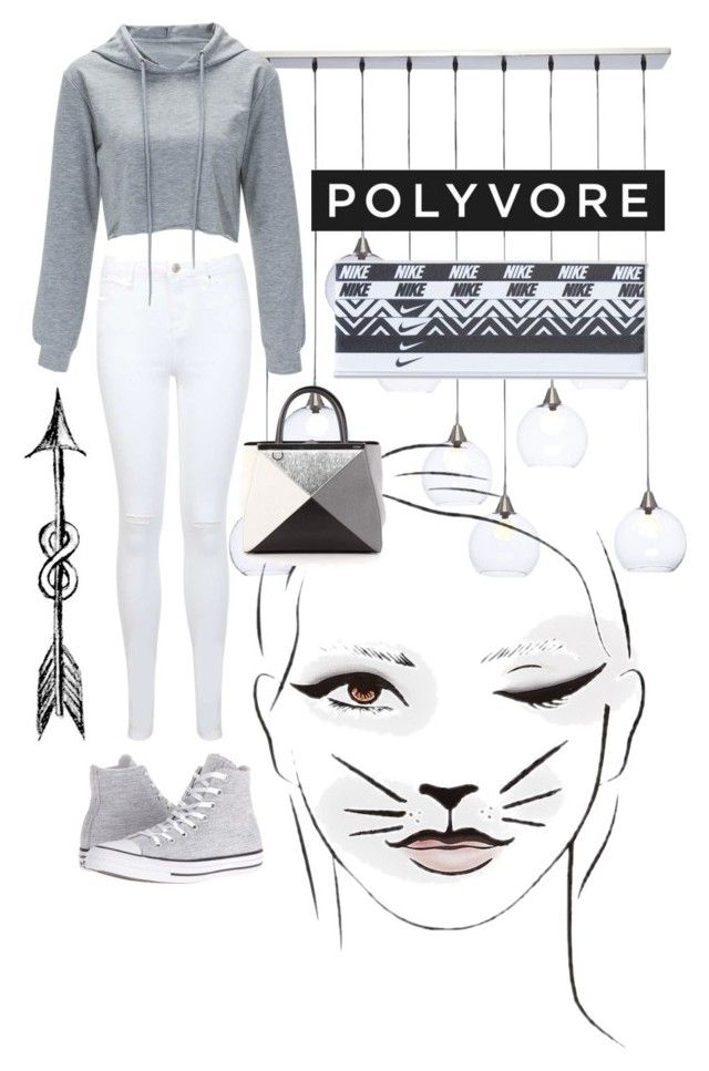 """""""grey set"""" by gabriella-1072 ❤ liked on Polyvore featuring CB2, Miss Selfridge, Converse, Fendi and NIKE"""