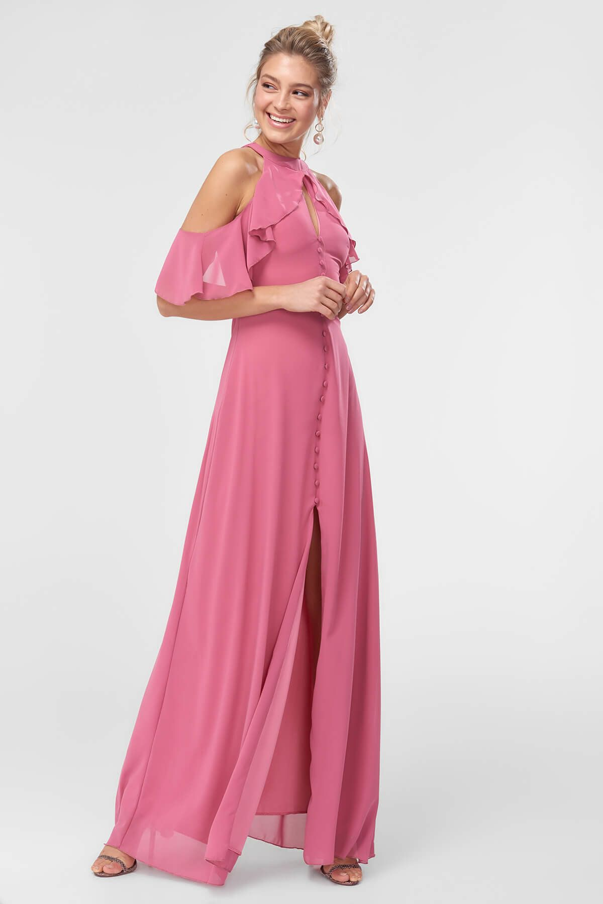 Gul Kurusu Yaka Detayli Abiye Elbise Tprss18fz0250 Trendyolmilla Trendyol Elbise Modelleri Elbise Elbise Dugun