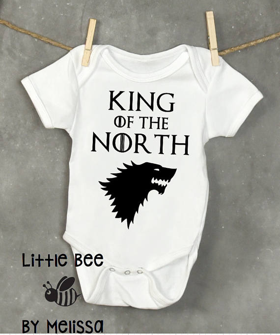 Newborn Baby Boy Clothes Games of Thrones King of the North Baby Bodysuit