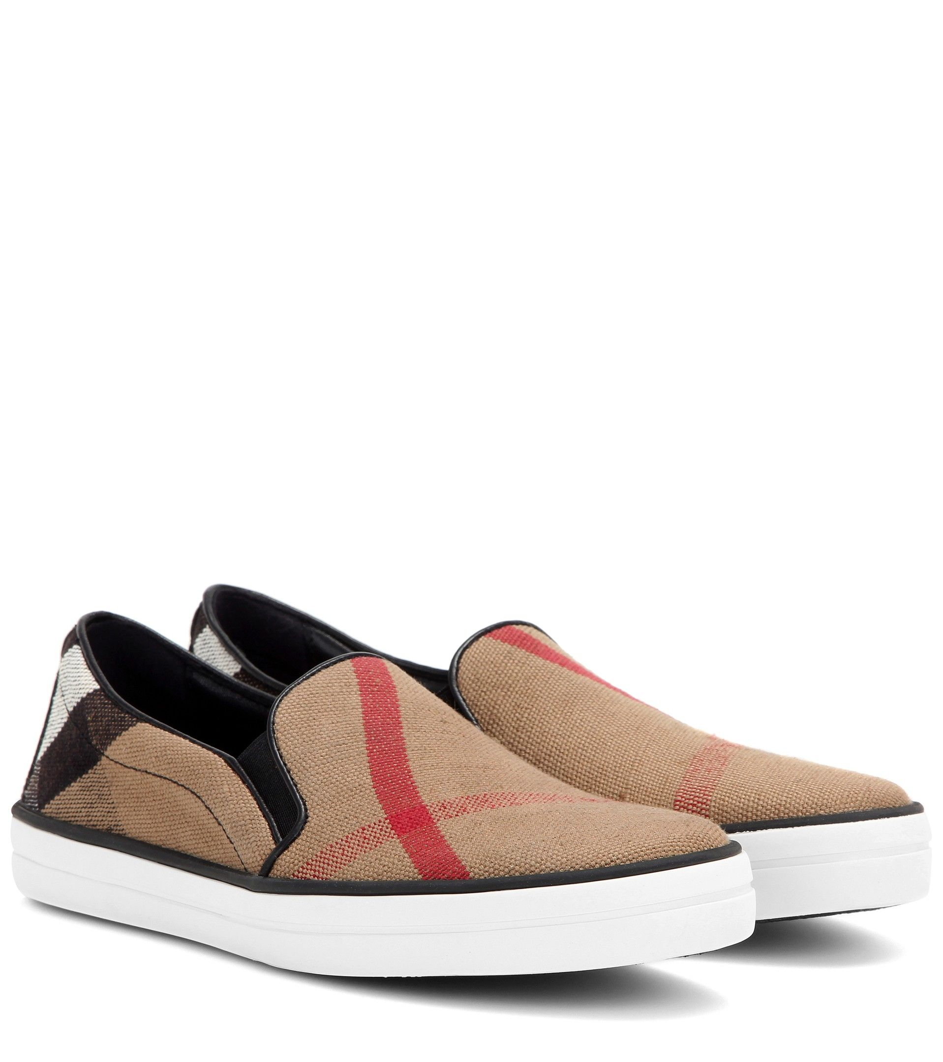 leather-trimmed slip-on sneakers