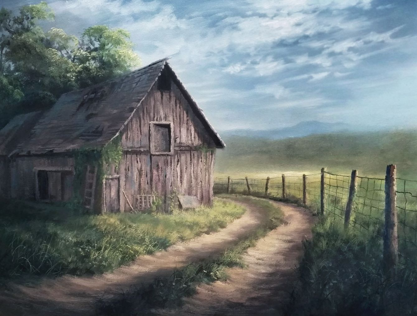 Barn By The Road Oil Painting By Kevin Hill Watch Short Oil Painting Lessons On Youtube Kevinoilp Kevin Hill Paintings Barn Painting Oil Painting Landscape