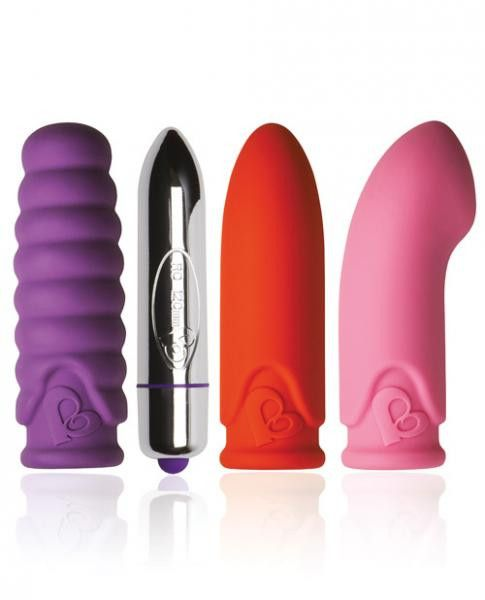 Feranti Mini Mates Fantasy Set Bullet Vibrator, 3 Sleeves  Includes one bullet and 3 sleeves. RO-120mm big and beautiful, a gorgeous pleasure bullet power house that will stroke and glide you into a frenzy of passion