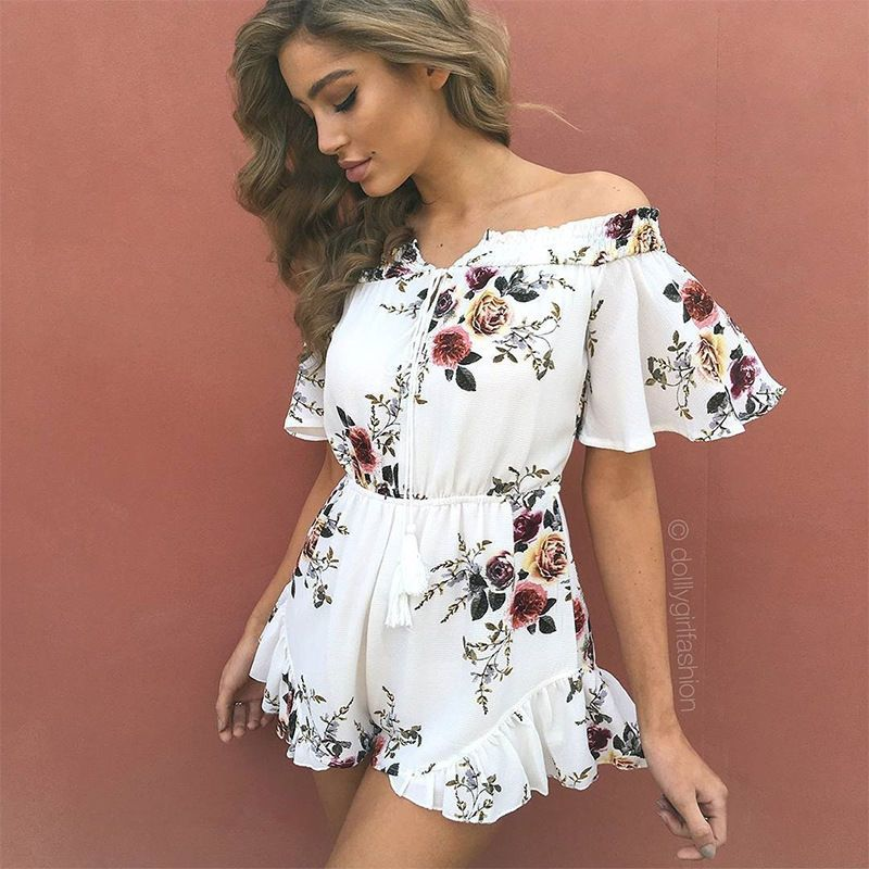 1f2ab63da53 2017 New Women s Casual Floral Prints Jumpsuit Summer Boho Beach Romper  Playsuit