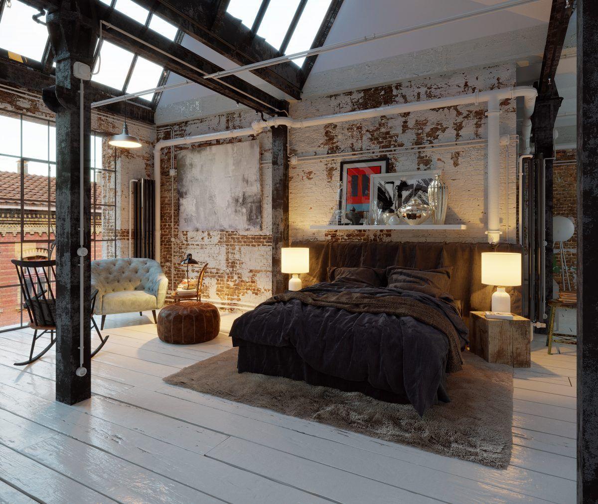 Bed In Old Industrial Vintage Loft Apartment Industrial Decor Bedroom Loft Apartment Decorating Industrial Bedroom Design