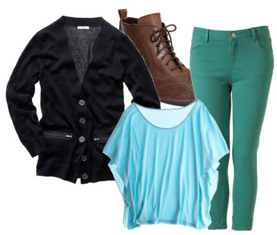 black cardigan, blue flowy top, brown boots, teal skinny jeans