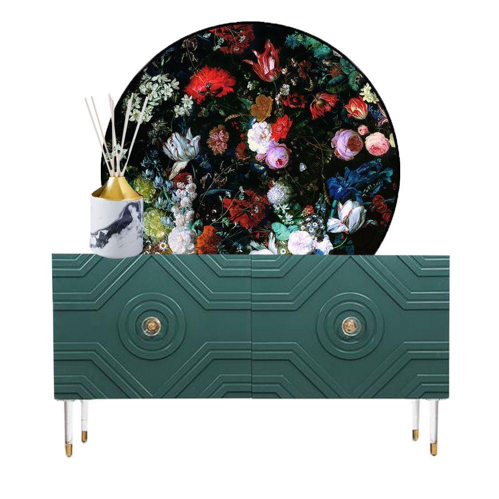 mini moodboard floral credenza design by interior decorator ashley