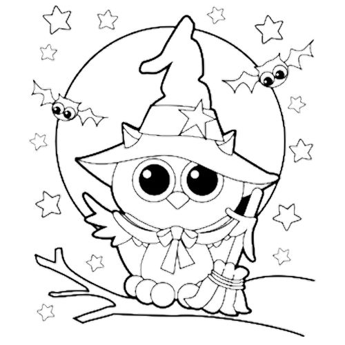 halloween owl witch coloring page
