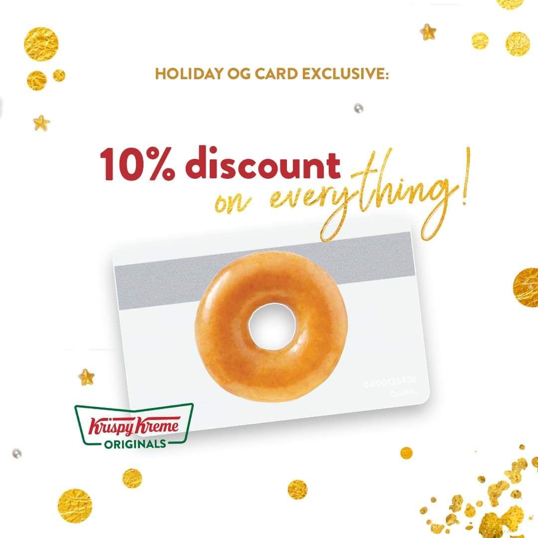 Krispy kreme og card members get 10 off every mondays
