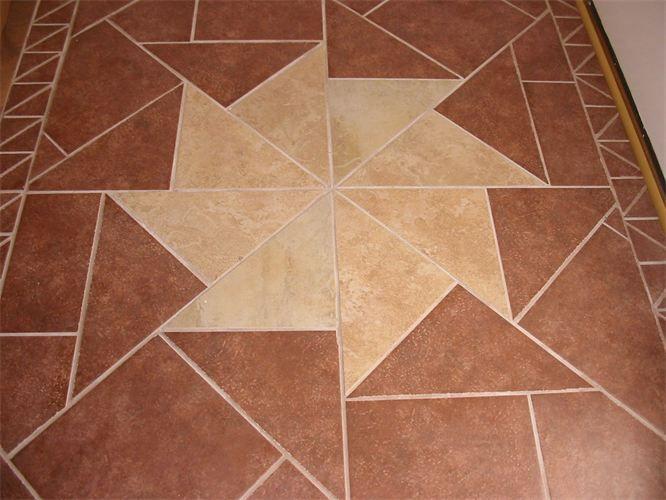 Foyer Starburst Design Tiles Were Custom Cut To Create This - Custom cut ceramic tile