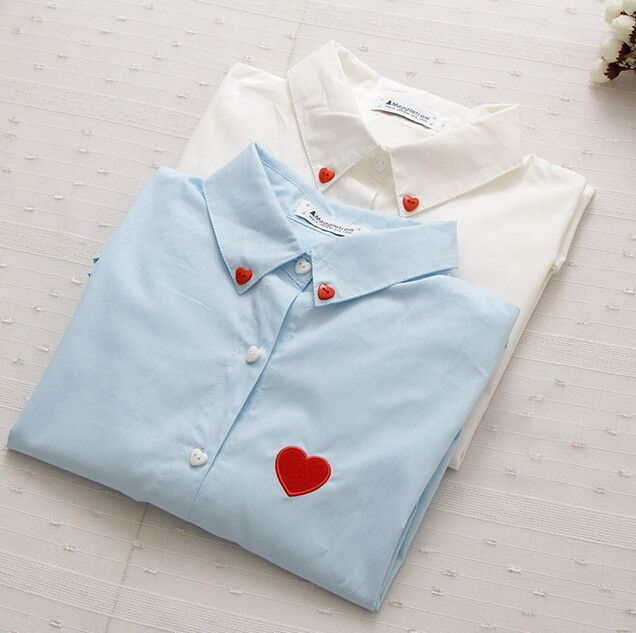 Love Buttons Love Embroidery Turn-down collar autumn winter long sleeve sweet shirt blouse