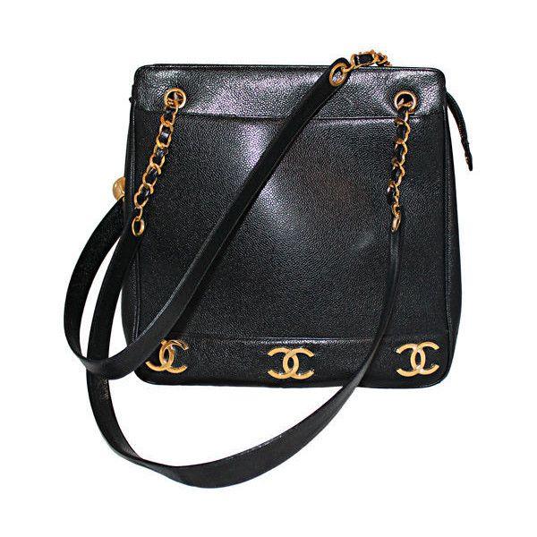 80de9e9e2dce Chanel - Vintage Chanel Black Caviar Leather Logo Shoulder Bag-Circa 90's  found on Polyvore