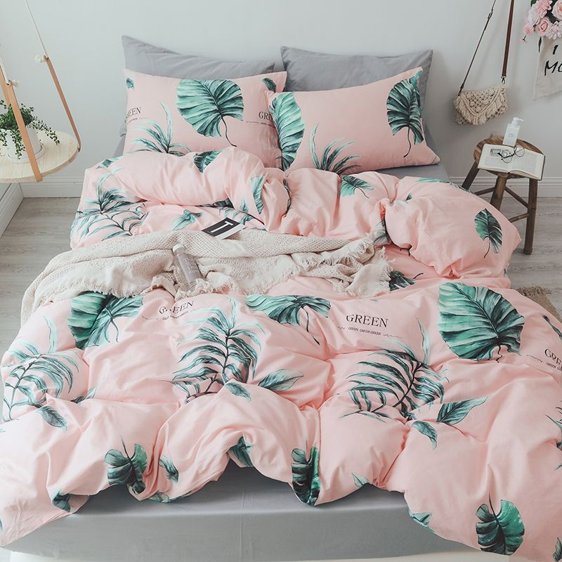 Leaf Bedding Set Pink Bed Cover Zipper Bedding Set Sheets Pillowcases Solid Grey Flat Sheet Queen Bed Cover Da Pink Bed Covers Pink Bedding Bed Linens Luxury