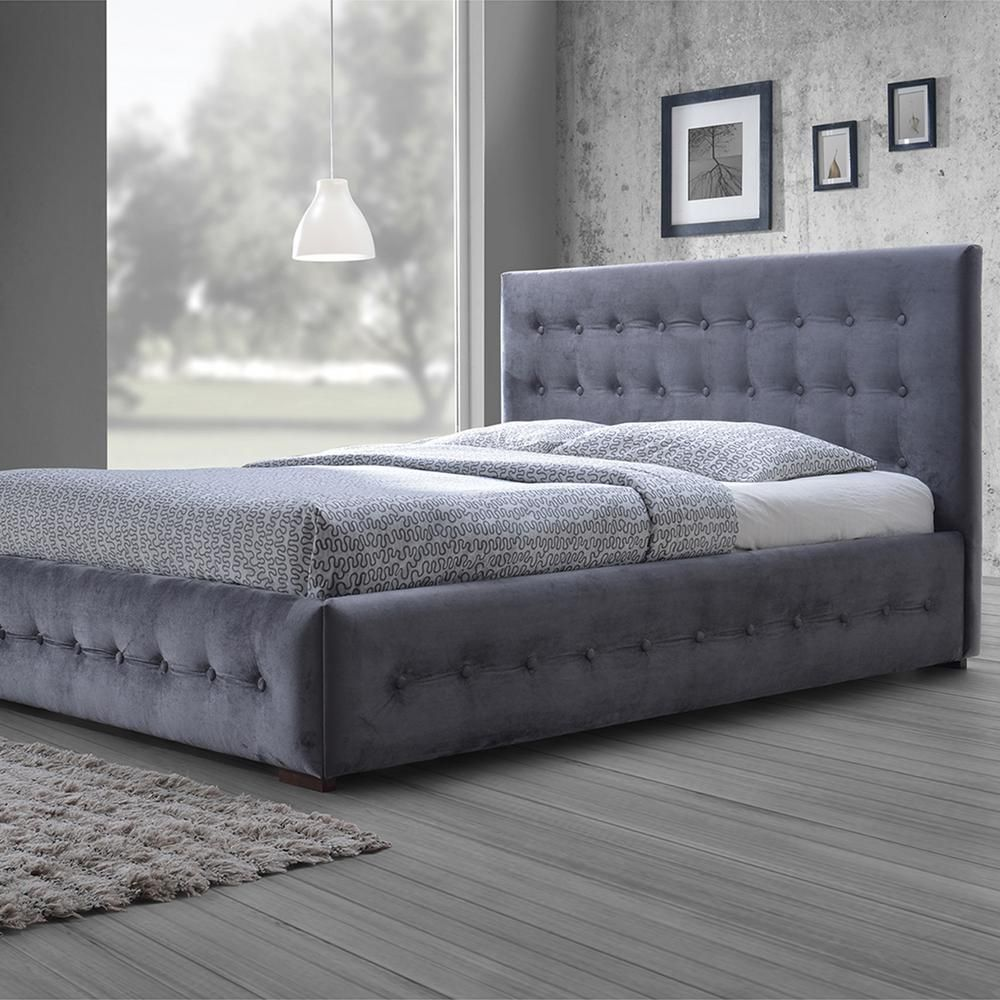 Margaret Contemporary Gray Fabric Upholstered Queen