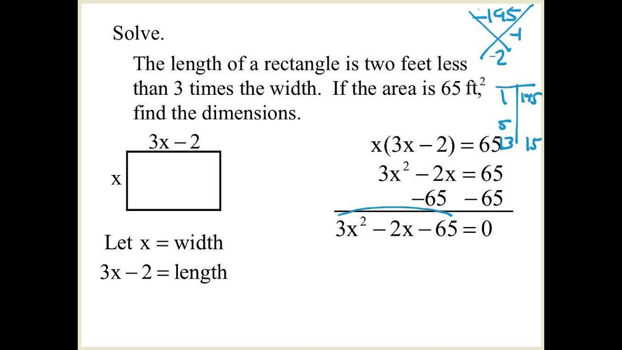 6 9 Solving Word Problems With Factoring Mp4 Youtube Solving Word Problems Word Problems Quadratics