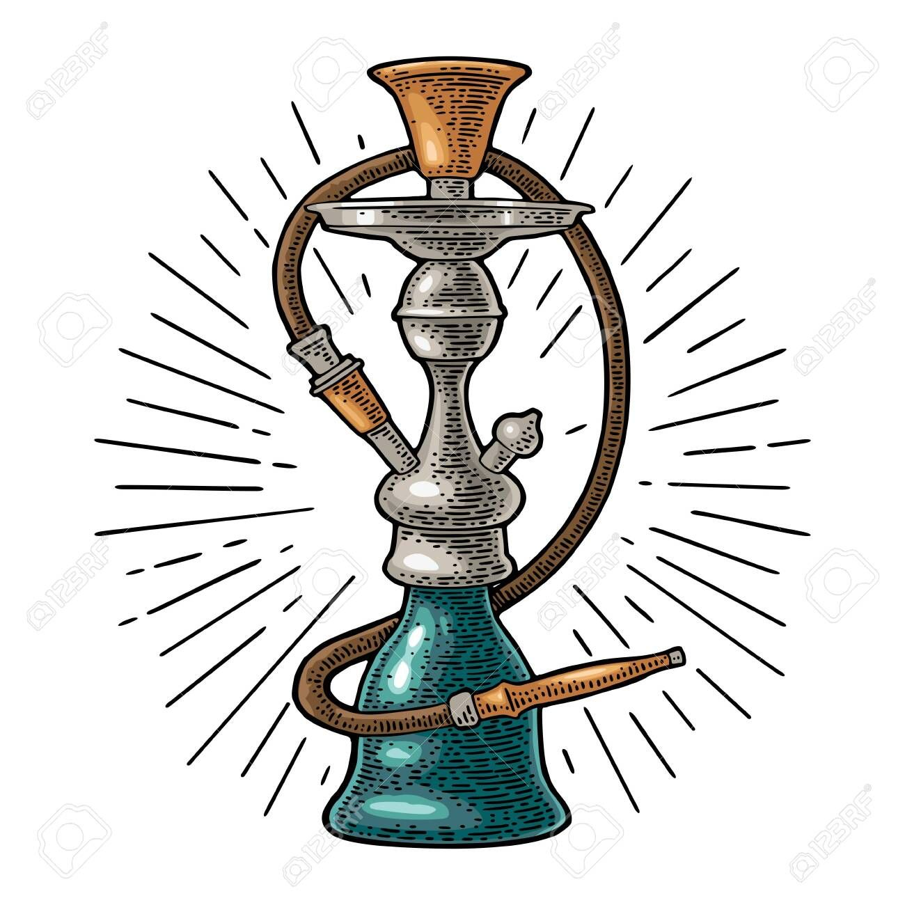 Hookah With Rays Vector Vintage Engraving Color Illustration
