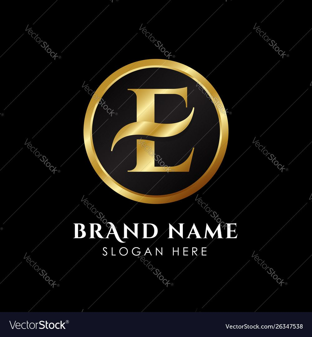 Luxury letter e logo template in gold color royal vector