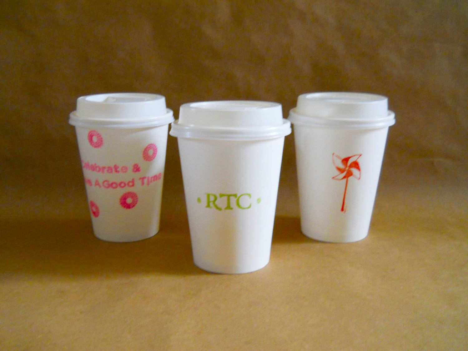 Custom Printed Personalized 12 oz. Paper Coffee Cups with
