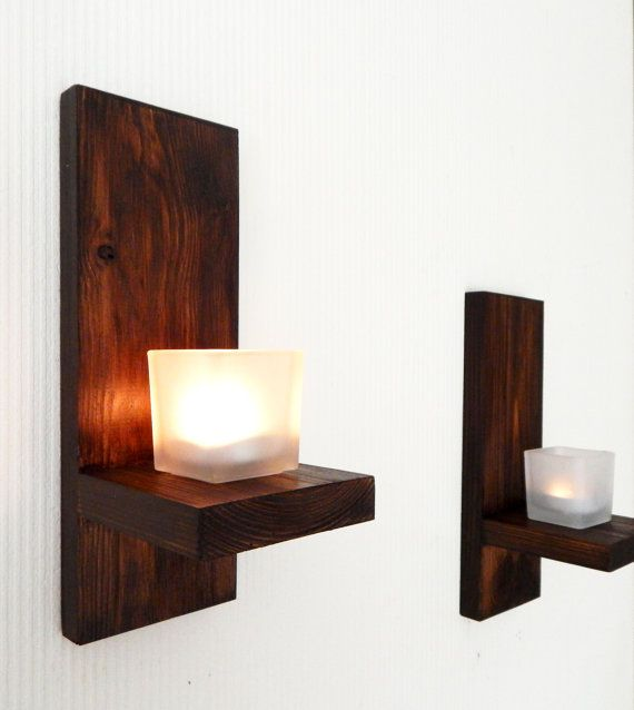 Modern Wall Mount Tea Light Candle Holder Candle By Allawoodwork