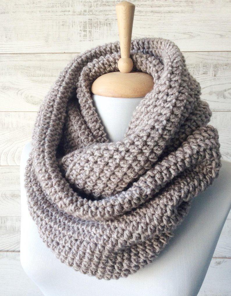 Chunky knit infinity scarf wool scarf chunky knit scarf ...