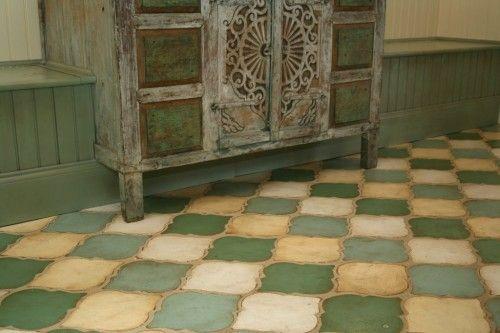 Green checkered floor