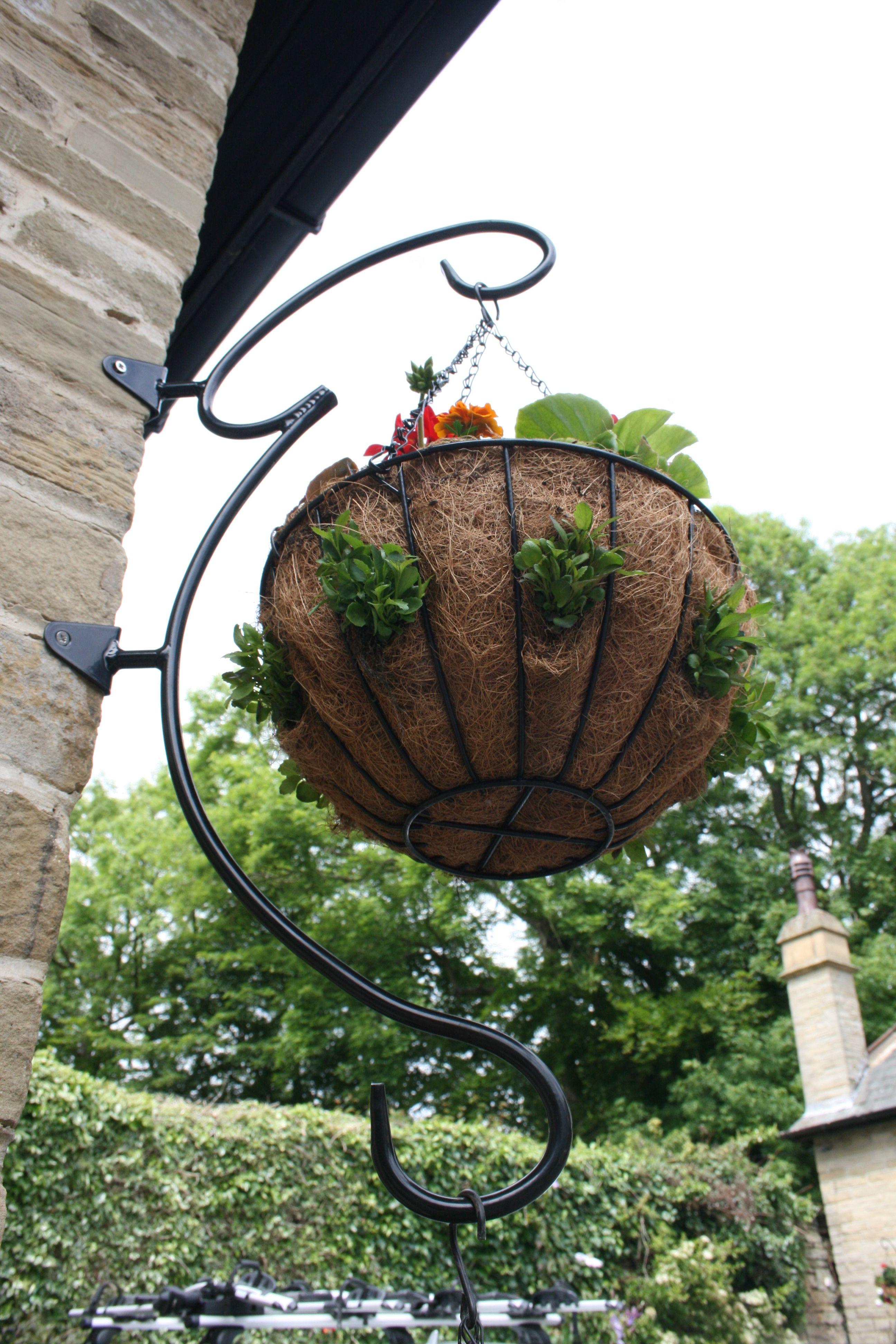 Flower Basket Hanging Brackets : Round hand hanging basket bracket garden features ideas