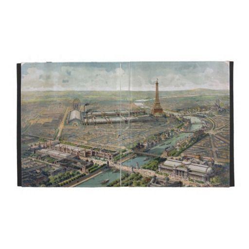 Vintage Pictorial Map of Paris (1900) iPad Folio Cover