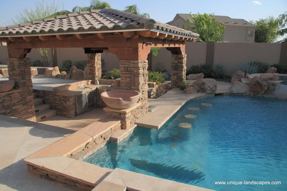 Beautiful outdoor bar area backyard pool designs for Pool design with bar