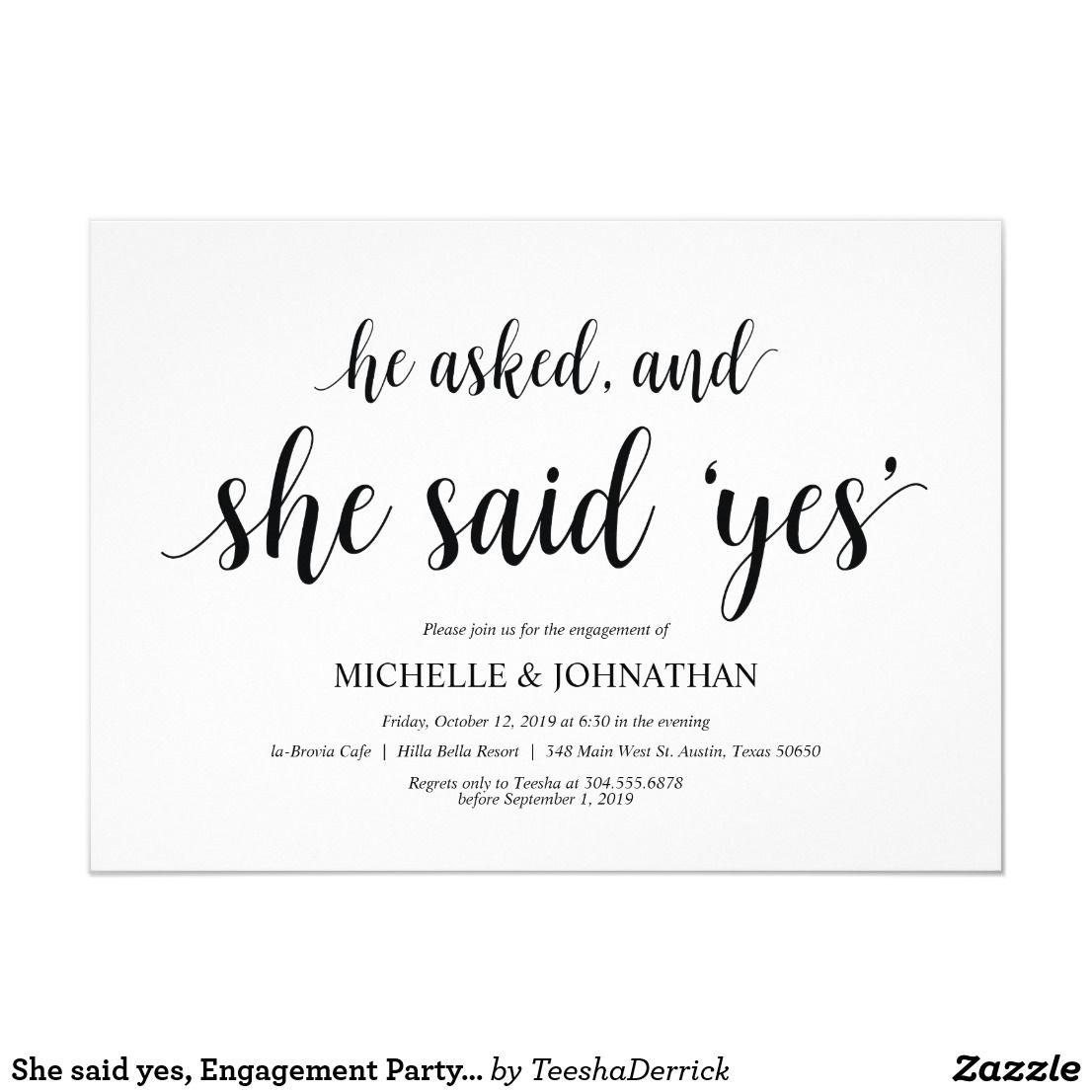 She Said Yes Engagement Party Invites Zazzle Com In 2020 Engagement Party Invitations Engagement Party Invitation Cards Bridal Shower Invitation Cards