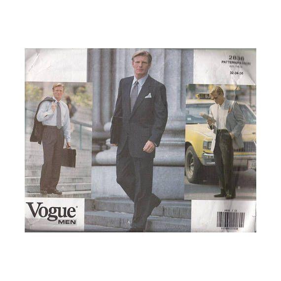 UNCUT Vintage 1990s Mens Dress Suit Sewing Pattern Vogue 2836 ...