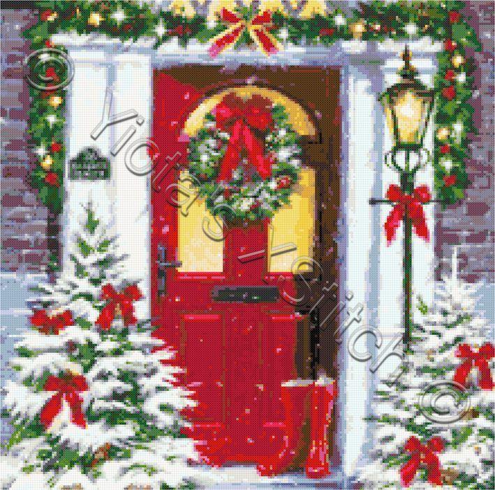 Christmas door cross stitch kit