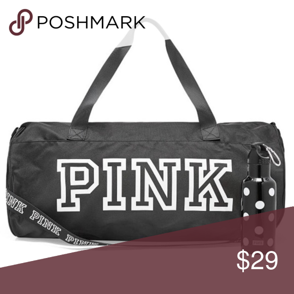 fd5d268da7b0 PINK Friday Black Duffel Bag This cute Round Duffle is essential for on or  off campus! Great for the gym or a weekend trip! Features two handle straps.