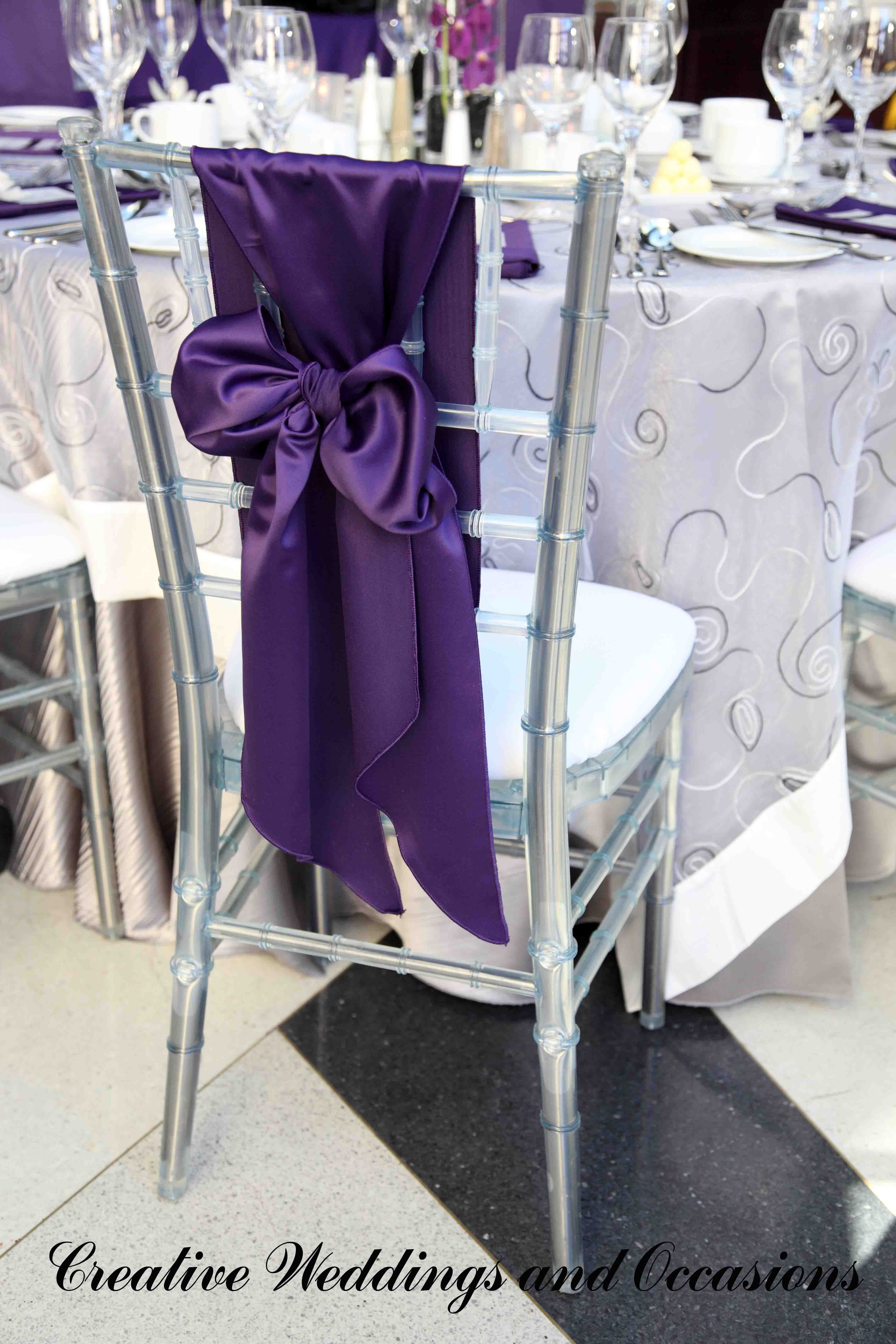 purple chair sashes for weddings swivel ikea uk wedding reception sash ideas
