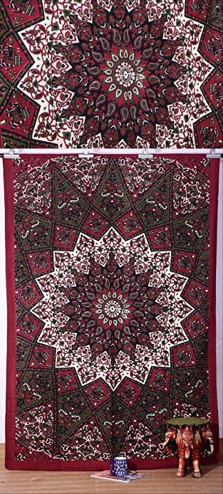 Indian Dark Star Hippie Tapestry, Beach Sheet, Hanging Wall Art, Wall Tapestries for Dorm Rooms, Bohemian Wall...