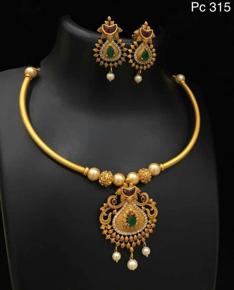 Dress necklace | Gold jewelleryS   in 2019 | Jewelry, Gold