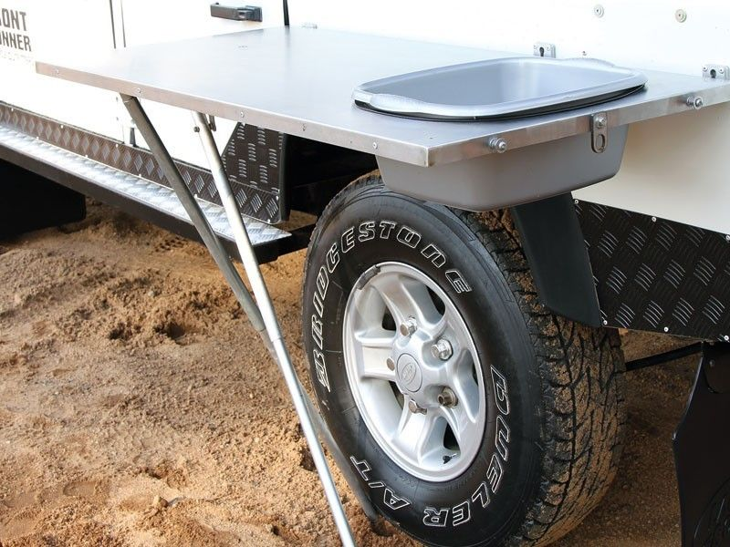Front Runner Stainless Steel Vehicle Side Mount Table With Basin
