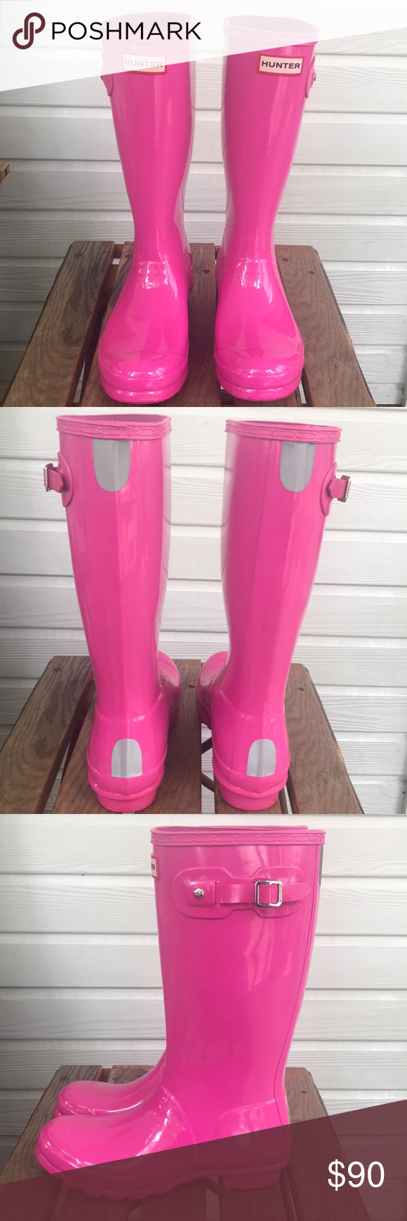 hunter kids glossy hot pink rain boots 6 b 7 g pink rain boots hunter kids hot pink pinterest