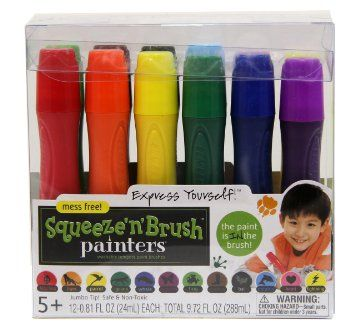 Amazon.com: Painters Squeeze 'N Brush Washable Tempera Paint Brushes, Set of 12 Color Brushes (E114): Office Products